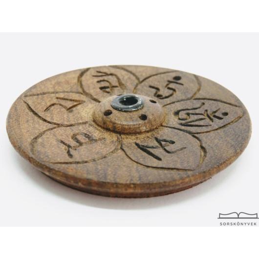 Fa füstölőtartó tibeti mantrával 7cm