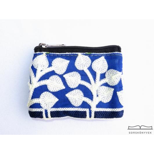 Kék, fehér leveles malatartó 10x8cm