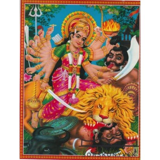 Durga,védelem, laminált szentkép A4