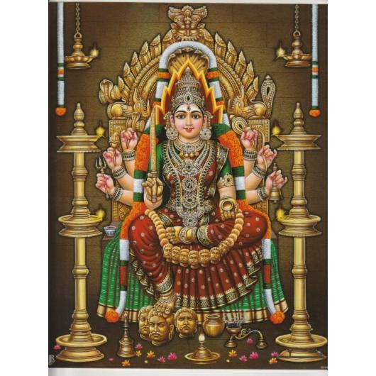 Durga, védelem, laminált szentkép A4