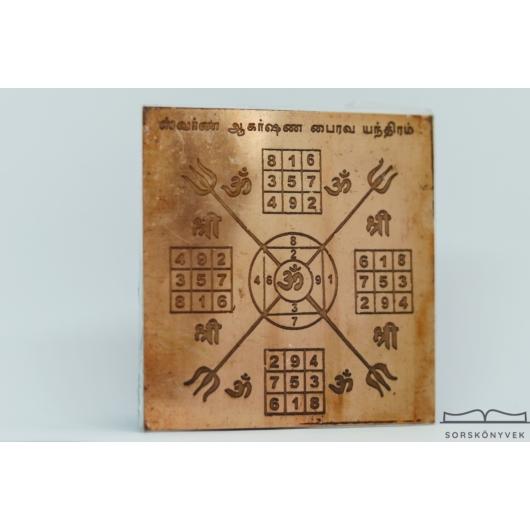 Swarna Akashana Bhairava yantra, kapukat nyit, gazdagság, jólét, 7,5cm